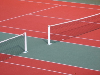 red tennis court paint