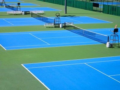 blue tennis court paint